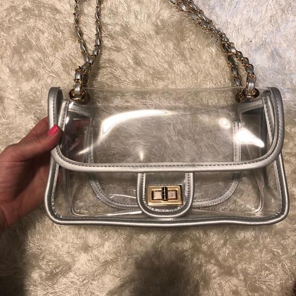 51f92e0f4b2432 Bags | C H A N E L Inspired Pvc Bag Silver New | Poshmark